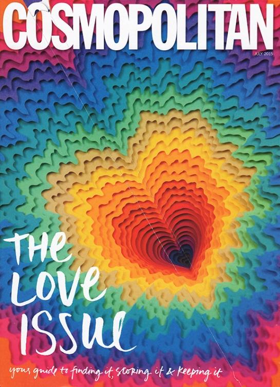 Cosmopolitan Magazine - Jen Stark artwork - July 2015 Cover - Photo Quam Odunsi